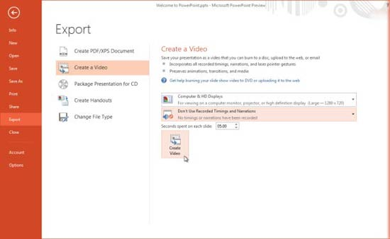 Export as video